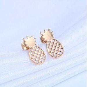 2/$12 Gold Pineapple Stud Earrings